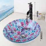 Floral glass round glass bathroom vessel basin - Unique Sinks