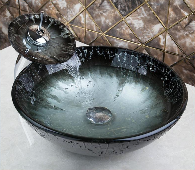 Glass Sink BLACK TO SILVER - Unique Sinks
