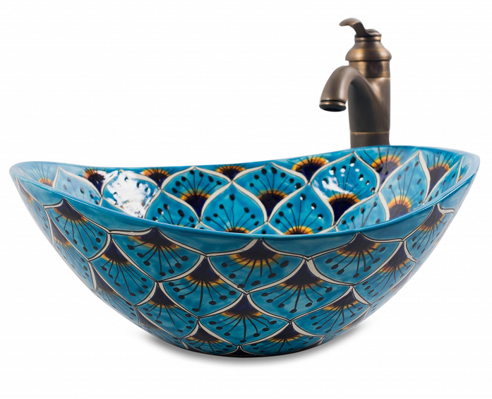 Mexican Aqua Azul Curved Vessel Hand-painted Bathroom Basin - Unique Sinks