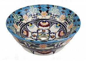 Mexican La Reina Upright Vessel Hand-painted Bathroom Basin - Unique Sinks