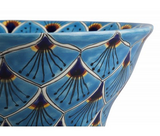 Mexican Azura Upright Vessel Hand-painted Bathroom Basin - Unique Sinks