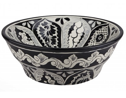 Mexican Atalaya Upright Vessel Hand-painted Bathroom Basin - Unique Sinks
