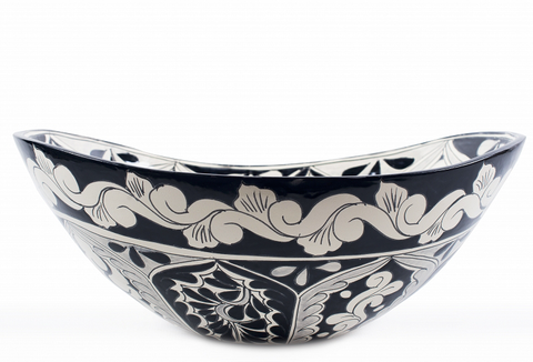 Mexican Atalaya Curved Vessel Hand-painted Bathroom Basin - Unique Sinks