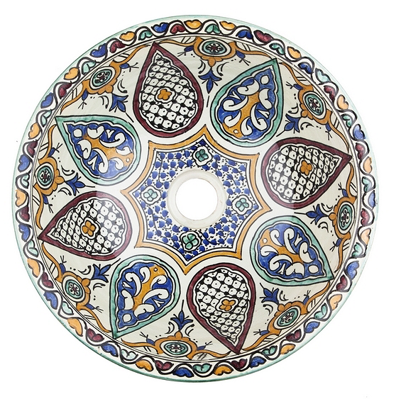 Moroccan LEILA Hand-Painted Bathroom Sink - Unique Sinks