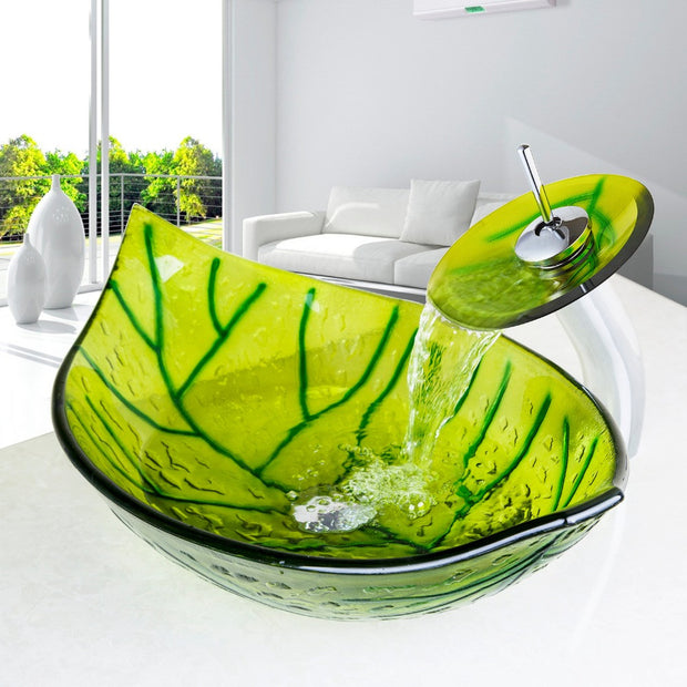 Glass Green Leaf Shape Bathroom Sink With Mixer and Pop-Up Drain - Unique Sinks