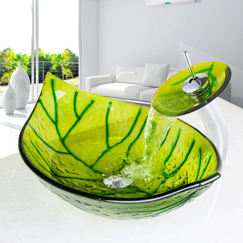 Glass Green Leaf Shape Bathroom Sink - Unique Sinks