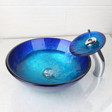 Glass blue vessel basin - Unique Sinks