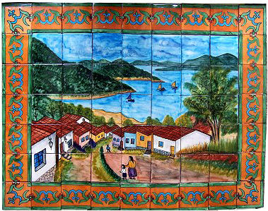 Tile Mural Patzcuaro Lake. Clay Talavera Tile Mural - Unique Sinks
