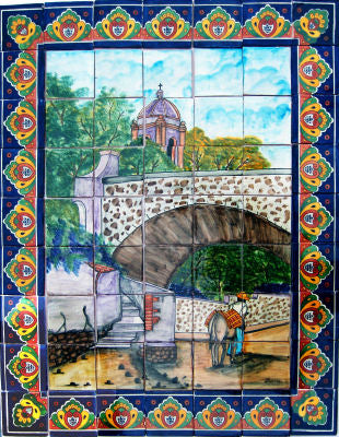 Tile Mural Ped Bridge. Clay Talavera Tile Mural - Unique Sinks