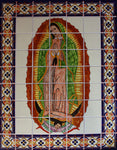 Tile Mural Our Lady Virgen De Guadalupe. Clay Talavera Tile Mural - Unique Sinks