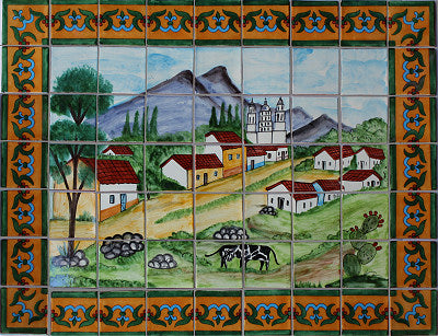 Tile Mural Small Town. Clay Talavera Tile Mural - Unique Sinks