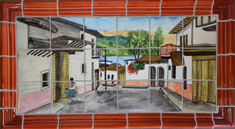 Tile Mural Little Town. Clay Talavera Tile Mural - Unique Sinks
