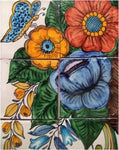 Tile Mural Basket Of Flowers. Clay Talavera Tile Mural - Unique Sinks