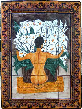 Tile Mural Calla Lillies Basket. Clay Talavera Tile Mural - Unique Sinks