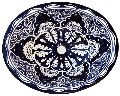 Mexican Traditional Blue & White Ceramic Talavera Sink- Drop-in Basin - Unique Sinks
