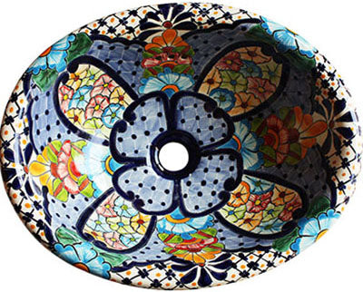 Mexican Blue Clover Ceramic Talavera Sink -Drop-in Basin - Unique Sinks