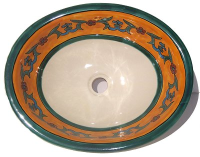 Mexican Liz Flower Ceramic Talavera Sink- Drop-in Basin - Unique Sinks