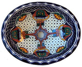Mexican Blue Mesh Ceramic Talavera Sink-Drop-in Basin - Unique Sinks