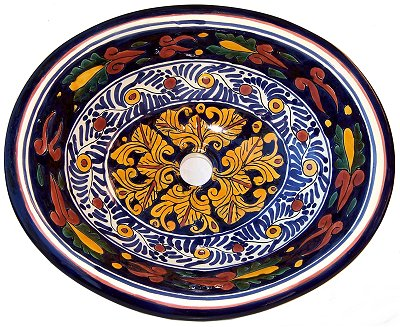Mexican Marigold Ceramic Talavera Sink - Drop-in Basin - Unique Sinks