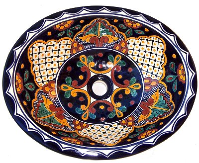 Mexican Mantel Ceramic Talavera Sink - Drop-in Basin - Unique Sinks