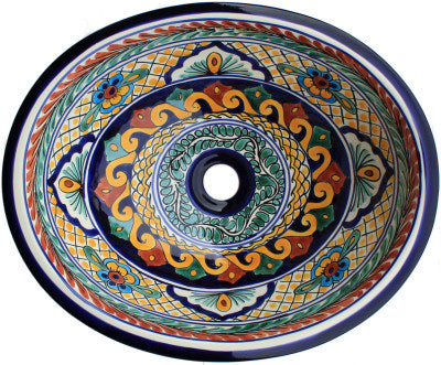 Mexican Meadow Ceramic Talavera Sink - Drop-in Basin - Unique Sinks
