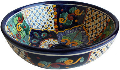Mexican Janitzio Round Ceramic Talavera Sink - Vessel Basin - Unique Sinks