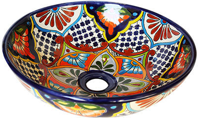 Mexican Azalea Ceramic Talavera Mexican Vessel Sink - Unique Sinks