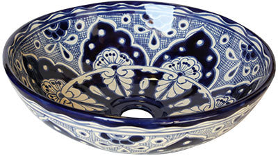 Mexican Blue Round Ceramic Talavera Sink - Vessel Basin - Unique Sinks