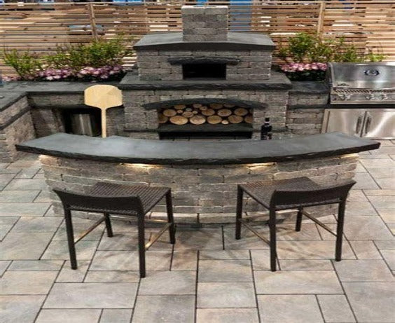 Traditional & Rustic Look Stone Cladded Bar And Barbecue Counter With Fireplace.