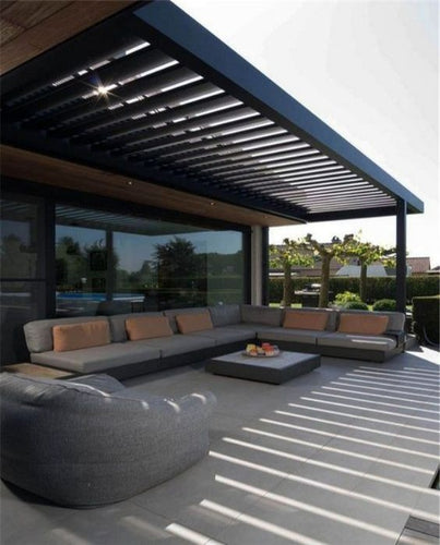 Black Rustic Modern Pergola with Louvered Roof