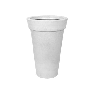 Round Tapered Non-LED Planter- White