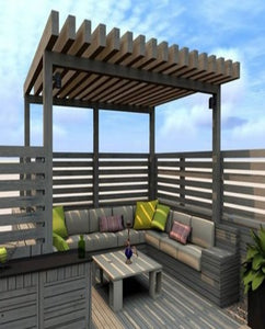 Pergola With Wooden Finish Bold Thick Rafters.