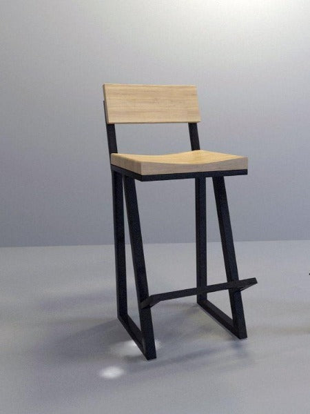 Minimalist Metal Structured Bar Chair with Reclaimed Wood Base & Back
