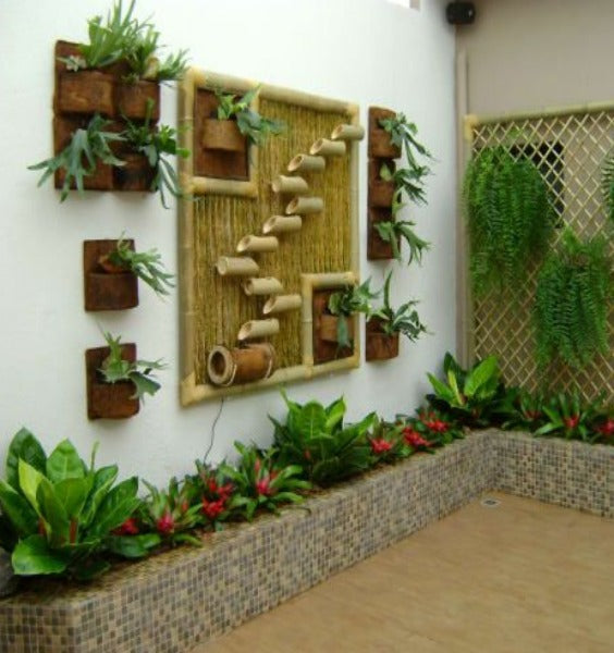 Traditional Look Bamboo Cladding on Wall with Planters