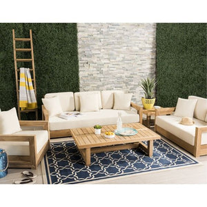 Teak Look Patio Three-Seater Sofa Set with Cushions & Wooden Coffee Table
