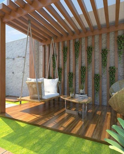 Modern Pergola with Thick Wooden Look Rafters