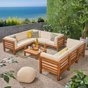 Teak Look Outdoor Low-Height Sofa Set with Coffee Table