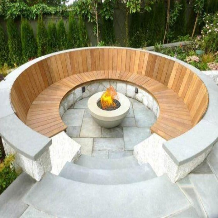 Impressive Crazy Look Patio Fixed Concrete Seating With Wooden Base And Backrest.