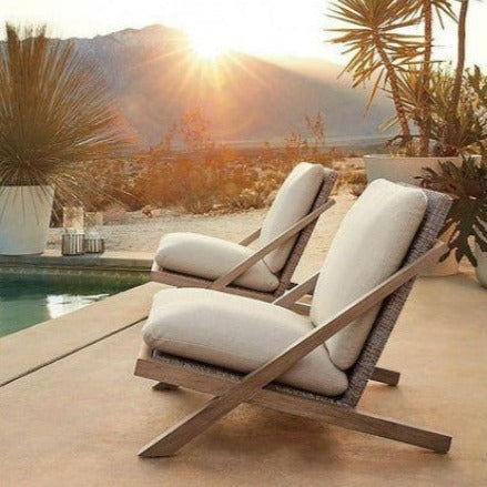 Contemporary & Teak Look Outdoor Relaxing Furniture for Pool/Water Feature Area