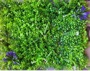 Artificial Plant Panels With Small Leaves & few Bushes with Flowers - 50 CM x 50 CM