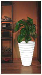 Round Ribbed Designer LED Planter