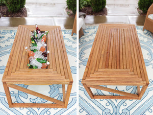 Modern Look Wooden Table with Beverage/Drinks Cooler in Center