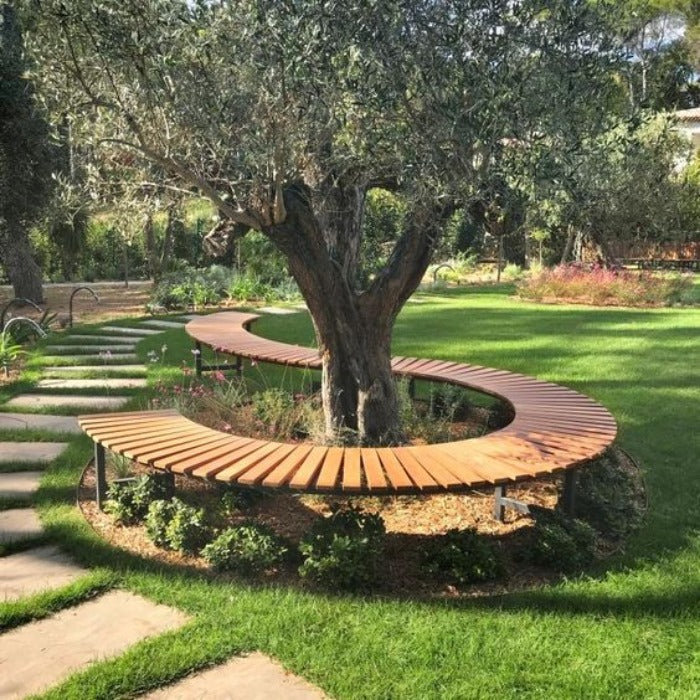 Modern Look Curved Wooden & MS Seating Bench Around Tree.