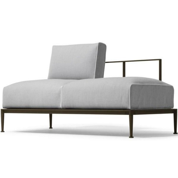 Modern Look Armless Metal Two-Seater Sofa with Extra Comfy Cushions