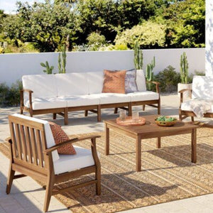 Traditional Look Wooden Sofa Set with Table & Comfy Cushions