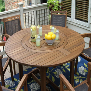 Minimalist Thermopine Wooden Round Table with Chairs for Outdoors