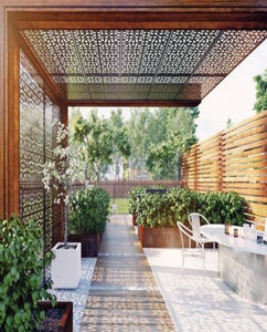 Wooden Finish Cantilever Pergola with Laser cut Roof