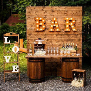 Rustic Vintage Look Wooden Bar Counter Top with Wine Barrel Storage, traditionally made with Metal Hoops & Wooden Staves