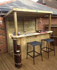 DIY Creative Outdoor Patio Bar with Shed on Top