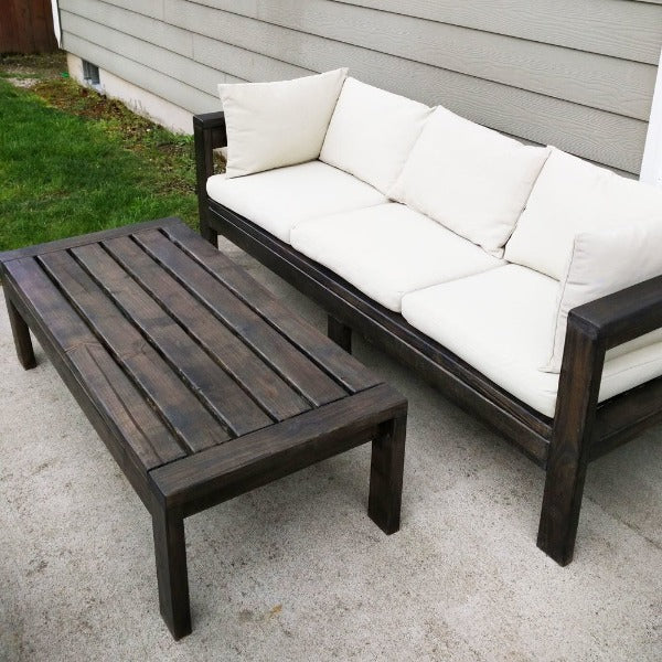 DIY Dark Brown Wooden Outdoor Sofa Set with Cushions for small spaces